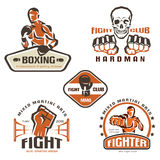 Set of fighting club emblems, MMA. Boxing labels and bages Royalty Free Stock Photos