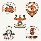 Set of fighting club emblems, MMA. Boxing labels and bages Stock Photography