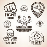 Set of fighting club emblems, MMA, boxing. Labels and bages Royalty Free Stock Photo