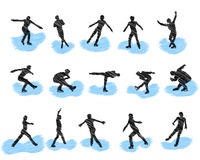 Set of figure skating grunge silhouettes Royalty Free Stock Images