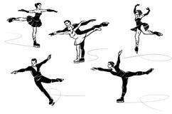 Set of figure skating. Hand drawn illustration. Isolated over white background Royalty Free Stock Photos