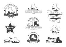 Set of figure skating logos Royalty Free Stock Images