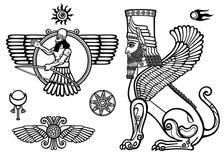 Set of figures of the Assyrian mythology: sphinx, winged god, Solarises. Royalty Free Stock Image