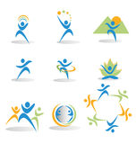 Set of figures in business and social icons logos. Figures representing health, nature, yoga, business,and social icons logos vector Stock Photography