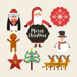 Set figures happy merry christmas card. Vector illustration design Royalty Free Stock Photo