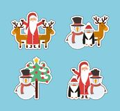 Set figures happy merry christmas card. Vector illustration design Royalty Free Stock Photography