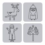 Set figures happy merry christmas card. Vector illustration design Royalty Free Stock Photos