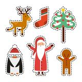 Set figures happy merry christmas card. Vector illustration design Royalty Free Stock Images