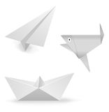 Set of figures from paper. On white background. Origami Royalty Free Stock Images
