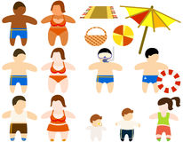 Set of figures of people. On a beach theme Royalty Free Stock Photo