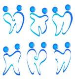 Set of figures teeth logo. Set of figures teeth silhouettes logo  vector Royalty Free Stock Image
