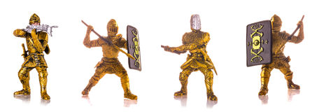 Set of figurine a medieval knightes isolated on white. Background Royalty Free Stock Photo