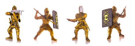 Set of figurine a medieval knightes isolated on white. Background Stock Photos