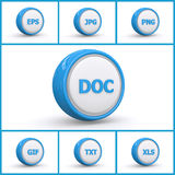 Set of file extension buttons. Illustrated set of computer file extension buttons isolated on white background Royalty Free Stock Image