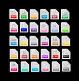Set of 30 file format, extensions icons. Set of 30 isolated file format icons on black background, extensions Stock Photo
