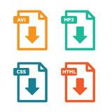 Set of file formats icons Stock Images