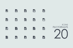 Set of file formats icons Stock Photos