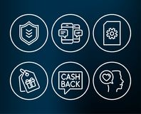 File management, Smartphone sms and Money transfer icons. Shield, Coupons and Romantic talk signs. Set of File management, Smartphone sms and Money transfer Stock Photos
