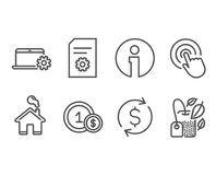 File settings, Notebook service and Usd coins icons. Click, Dollar exchange and Mint bag signs. Set of File settings, Notebook service and Usd coins icons Stock Photography