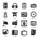Set of File, Television, Picture, Smartphone, Flag, Calendar, Antenna, Clipboard, Video player icons. Set Of 16 simple  icons such as File, Television, Telephone Stock Images