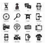 Set of File transfer, Smartphone, Keyboard, Camcorder, Banner, Compact disc, Chat, Hourglass icons. Set Of 16 simple  icons such as File transfer, Smartphone Stock Images