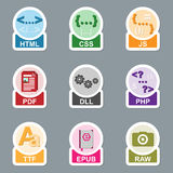 Set of file type icons Stock Photos