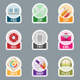 Set of file type icons Stock Image