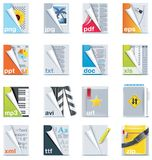 Set of the files and folders icons Stock Photography