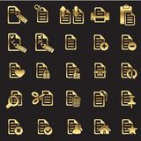 Set of files icons. Golden line Royalty Free Stock Image