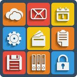 Set of 9 files web and mobile icons. Vector. Stock Image