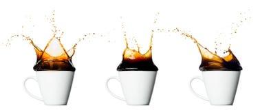 Set filiżanka odizolowywająca na białym tle chełbotanie kawa obraz stock