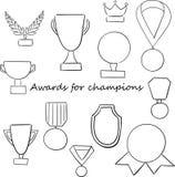 Set filiżanki dla zwycięzców i inny bawimy się trofeum royalty ilustracja