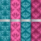 Set filigree damask seamless patterns. Royal wallpaper vector illustration