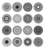 Set of 16 filigree lace objects in black and white Stock Photos