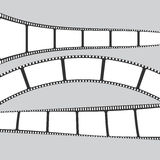 Set of film or camera strips on gray background.  Stock Photography