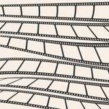 Set of film or camera strips in horizontal position. Set of film or camera strips on gray background Stock Photo