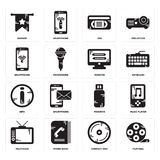 Set of Film reel, Compact disc, Television, Pendrive, Info, Monitor, Smartphone, Vhs, Banner icons. Set Of 16 simple  icons such as Film reel, Compact disc Royalty Free Stock Image