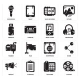 Set of Film reel, Telephone, Protest, Smartphone, Mailbox, Music player, Pendrive, Voice recorder, Microphone icons. Set Of 16 simple  icons such as Film reel Stock Photos