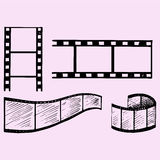 Set of film strip. Doodle style, sketch illustration, hand drawn, vector Royalty Free Stock Images