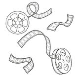Set of film strip and reel. Sketch vector Stock Image