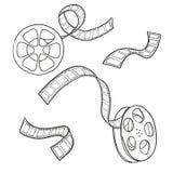 Set of film strip and reel. Sketch vector Stock Image
