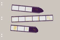 Set of film stripes, with marks photo frames. Free copy space,vector Stock Photo