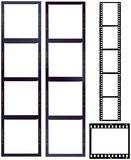 Set of film strips. Medium and standard format, blank frames,free space for ypur pix Stock Images
