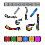Filmstrips. Set of film strips colors and black and white isolated Royalty Free Stock Photography