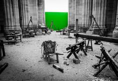 Filming set with Green Screen Stock Image