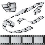 The set of films. 35mm Film roll. Realistic 3D image. Old film strip. Movie time Vector illustration.  on white Stock Photos