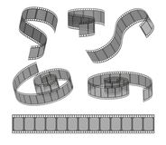 Set of filmstrip rolls. Collection of realistic movie and cinema elements or objects.