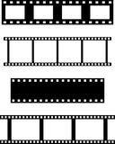 Set of filmstrips. Set of four different filmstrips for backgrounds, frames, designs, etc Stock Photos