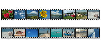 Set of filmstrips with travel vacation photos. Set of filmstrips with  vacation photos Stock Image