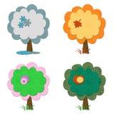 Set Filzsaisonbäume vektor abbildung
